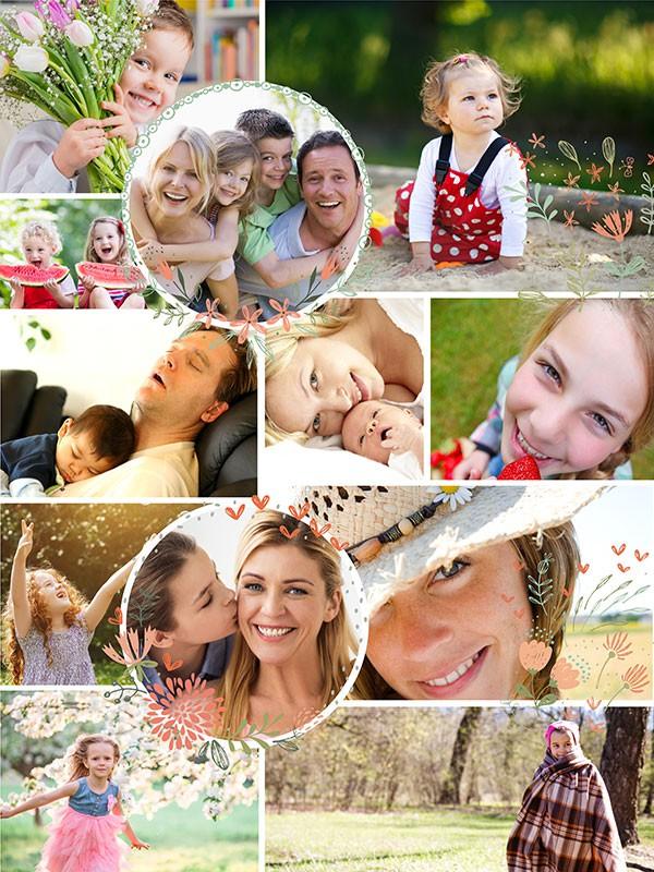 Kolaż do puzzli na 12 zdjęć - ilustracja
