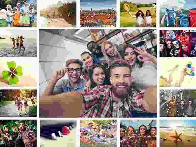 Kolaż do puzzli na 17 zdjęć - raster prosty